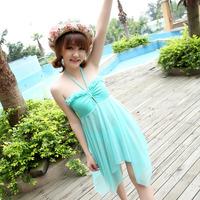 beach wear Fresh dress skirt irregular one piece small female swimwear young girl swimwear  swimwear