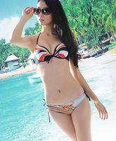 beach wear Navy style belt push up bikini swimwear bikini  bikini