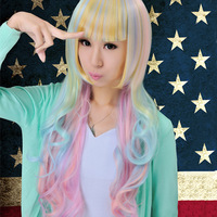 Harajuku lolita ice cream gradient long curly hair cosplay costume wig for female,free shipping