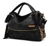 Crazy Sale 2015 New Casual All-match Leopard Print Paillette Bag Women fur Handbag Shoulder Message Bags Wholesale
