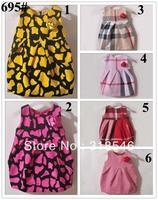 High quality Free shipping 5pcs/lot  s girls dress girls sleeveless plaid dress with flower girls brand clothing 1-6years