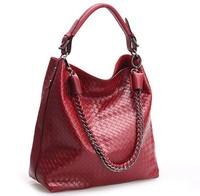 New Arrival Fashion Knitted Emboss Women Cowhide Handbag High Quality Genuine Leather Chain Bag Handbag Messenger Bag PROMOTION