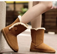 winter cotton-padded shoes female preppy style snow boots medium-calf women's boots genuine leather shoes boots
