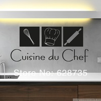 Free shipping modern French style kitchen wall stickers,cuisine du chef vinyl waterproof wall decal stickers fr2000