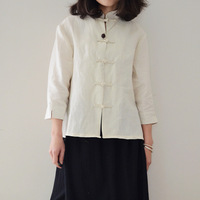 National trend women's chinese style stand collar plate buttons three quarter sleeve linen shirt fluid top