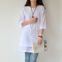 Chinese style national trend o-neck plate buttons padded half sleeve shirt autumn top