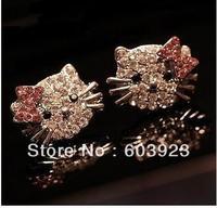 Free shipping 20pcs/lot  Wholesale flovly hello kitty earring studs all rhinestone kt earrings for girls