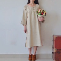 Nostalgic fresh pure linen loose self-shade straight three quarter sleeve one-piece dress