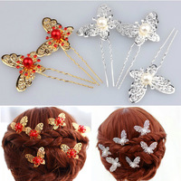 David jewelry wholesale T44 The bride hair  red white butterfly pearl hair stick married cheongsam hair accessory wedding