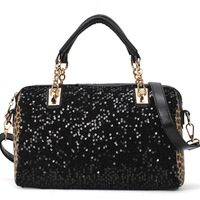 New Hotsale  hot wholesale paillette handbag leopard shoulder bag women's chain messenger bags HL079