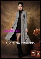 2013 Large Size Women's Winter Coat Single Breasted Plover British Style Extended Warm Woolen Coat Thick Lace Big Swing Coat