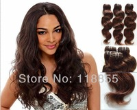 Cheap 6A Brazilian virgin loose body wave hair weave 3pcs #6 Medium Brown body wave curly hair bundles extensions free shipping