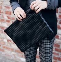 Fashion knitted leather man bag vintage envelope day clutch bag clutch bag flat bag
