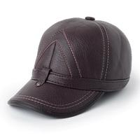 Genuine leather hat baseball cap male cap quinquagenarian hat winter thermal protector ear cap