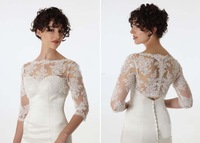 Custom made gorgeous exquisite shining lace appliques beaded short sleeve wedding dresses Jackets