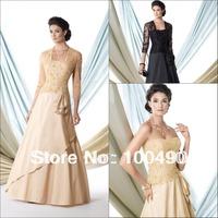 114901 lace plus size long sleeve evening dresses Taffeta a matching Jacket