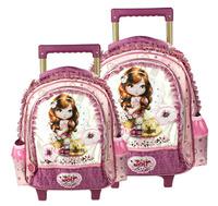 HOT Joli Princess Trolley School Bags for Girls Mochilas Kids Cartoon Lace Embroidery Wheeled Backpack Trolley Bookbag on Wheels