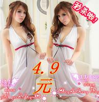 Sexy sleepwear short skirt t set female white nightgown lounge flirting underwear temptation