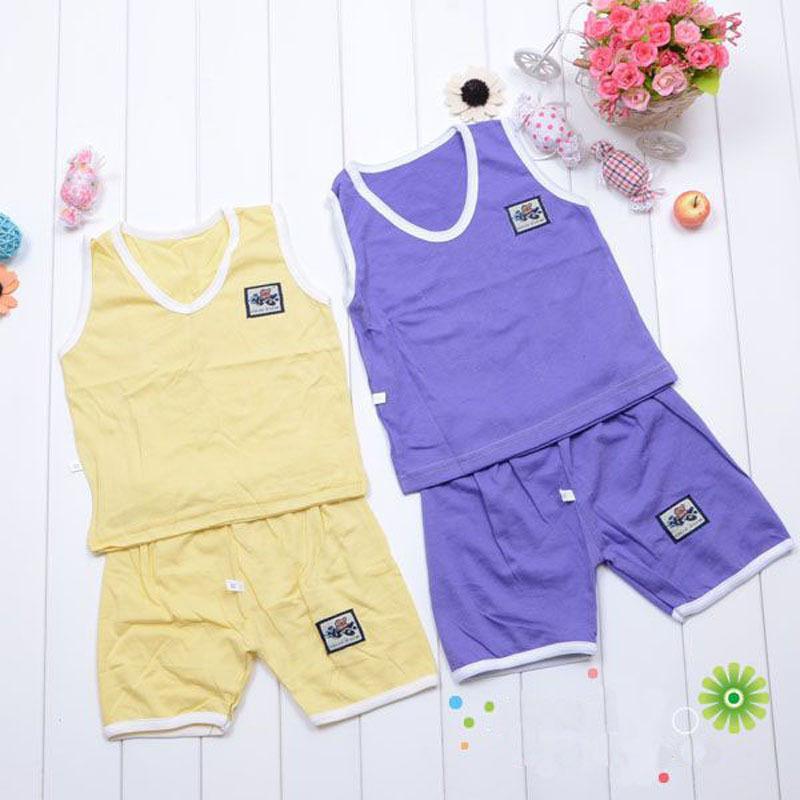 2014 Summer Fashion Children Clothing Set Sleeveless T-shirts Shorts