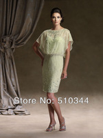 Free shipping short sleeves sheath column beading chiffon knee length mother of the bride dresses sleeveless 2014 with jacket