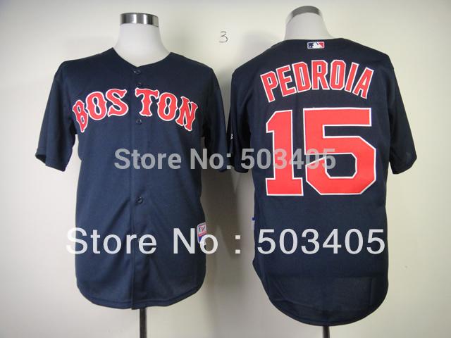 Boston Red Sox #15 Dustin Pedroia dark blue baseball cool jerseys 1248(China (Mainland))