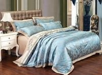 Patten Two Sky Blue noble super king comforter sets/ Bedspreads Luxury Silk Bedding set/Bed cover /doona cover sets /bed sheet