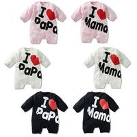children's clothing cute baby boys girls long-sleeve sweet infant printed i love mama papa rompers kids romper 3pcs