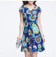 2014 summer fashion women large size stretch print casual dress wholesale(freeshipping)