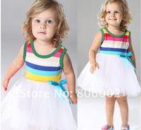 New 2014 rainbow  tutu girl dress baby girls wear child summmer clothing girl dress white color age 2/3/4/5/6