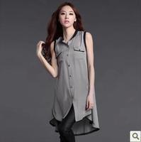S-XXL Europe and the United irregular sleeveless chiffon blouse shirt big yards long section top blusas camisa free shipping 058