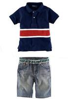 New 2014 summer short sleeve boys clothing set t shirt+demin shorts sport suit kids conjunto de roupa free shipping