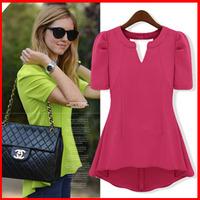 2014 summer fashion women's medium-long all-match puff sleeve chiffon shirt top short-sleeve chiffon shirt