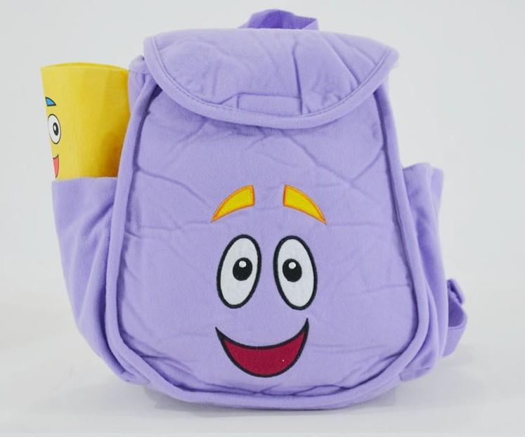 O envio gratuito de Dora The Explorer sr . rosto Plush Backpack Shool saco roxo criança Bag atacado melhor presente(China (Mainland))