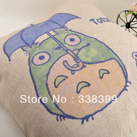 free shipping 45cm*45cm cute totoro printed linen Pillow Cover Cushion Cover  Pillow Case home decoration