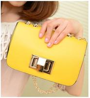 2014 New Korean Women's chain Messenger bag Candy colors shoulder bag  wild casual lock PU bag free shipping