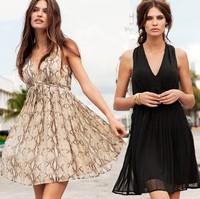 Women Summer Dress 2014 Star Style Deep V-neck Pleated Casual Dress Chiffon Sleeveles Print Plus Size Sundress Vestidos
