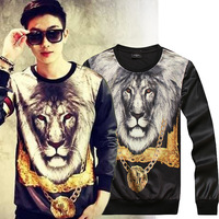 2015 New Arrival Casual Hoodies Fashion England Style Cotton Fleece Long Sleeve lion printing PU leather men's Pullover B032
