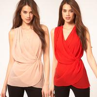 XS-XXL New 2014 Cross Waist Deep V-Neck Design Wrapped Layered Sleeveless Chiffon Shirt Long Plus Size Women Blouses