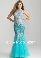 2014 New Arrival Scoop Neckline Tank Backless Havy Crystal Floor Length Mermaid Tulle Prom Dresses women Evening Fprmal Dress