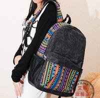 2014 new! Free shipping ladies backpack, national canvas bag, jean bag backpack,high quality