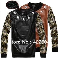 High Quality Autumn Winter Women Men Camouflage Sweatshirt PU Leather Velour Inside Warm Sweater shirt Stars T shirt XL