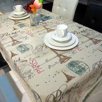 Hot sell  tablecloths Eiffel Tower fabric drapes retro style tea table cloth 100*150cm