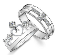 Valentine's Day 2014 Couple Love Cross Crown Jewelry CZ Zircon Crystal Plated Platinum Couple Rings Set