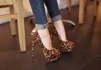 Free Shipping 2014 Spring Autumn Leopard High-heeled Shoes Single Shoes Sexy Women's Thin Heels Round Toe Platform Shoes