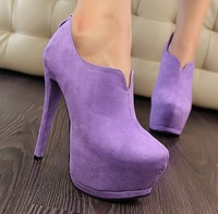 2014 new Fashion brief ultra thin  high heels shoes woman 2013   platform velvet sexy female ankle boots women pumps