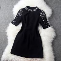New brand luxury 2014 spring women's fashion cabinet o-neck beading short-sleeve slim elegant one-piece dress vestidos B278