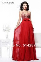 2014 New Arrival Sexy Halter Crystal Beaded Floor Length Straight Red Chiffon Prom Dresses Women Formal Evening Party Dress
