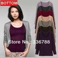 Women's High Elasticity Quality Long-sleeved Wild Solid Bottoming Shirt