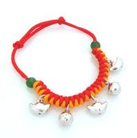 925 pure silver bell ingot bell red string baby bracelet cards bracelet