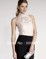 Free shipping women lace shirt with backless halter turtlence sleeveless wrapped chest sheath fashion sexy D181
